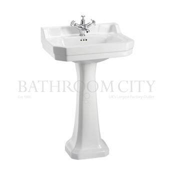straight Edwardian Basin 56cm and standard pedestal option of 1,2,3 tap hole