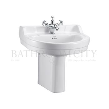 traditional Edwardian Round Basin 56cm and Semi Pedestal
