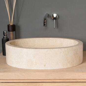 Forzalaqua Firenze Natural Stone Basin Washbowl Travertine Oval Shape for High Quality Bathroom
