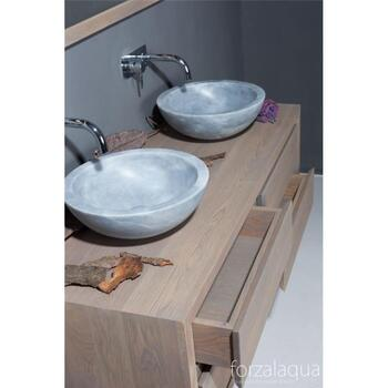 Forzalaqua Roma Natural Stone Wash Basin Cloudy Marble Modern Bathroom