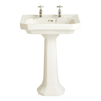 Granley Deco High Quality White Basin Standard 2 Tap Holes And Full Pedestal