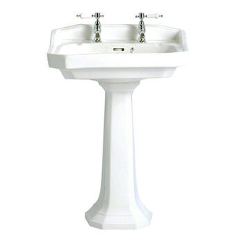 Granley Easy To Install Traditional Design White Bathroom Basin Standard And Tall Pedestal