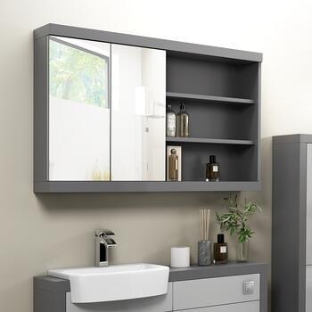 Artis Triple Mirror Door Bathroom Cabinet Cupboard Wall Mounted Stainless Steel 900mm