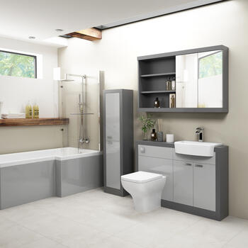 Grove 1200 Shower Bath Suite Platinum Grey - 179253