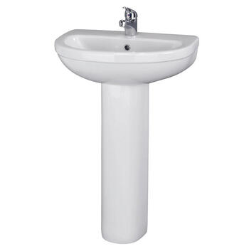 Ivo Large 550 Elegant White Basin with One Tap Hole And Full Size Pedestal