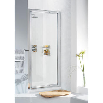 Lakes Pivot Framed White Shower Door Modern