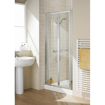 Lakes White Semi Framed Bifold Shower Door Stylish Bathroom