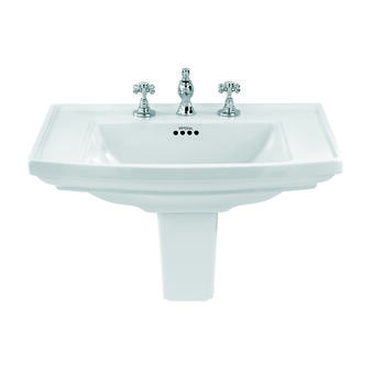 Radcliffe Large Traditional Bathroom Wash Basin 685mm White With Large Semi Pedestal