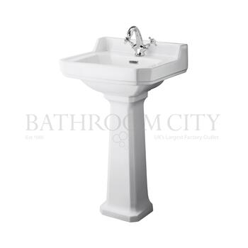 straight Richmond 500mm Basin & Pedestal option of 1,2 tap hole