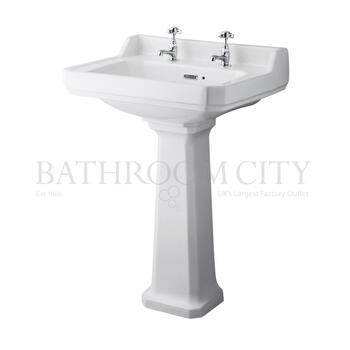 straight Richmond 600mm 2 TH Basin & Pedestal option of 1,2 tap hole