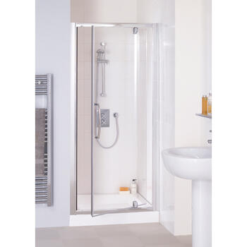Shower Cubicle White Semi Framed Pivot Door 700  Bathroom