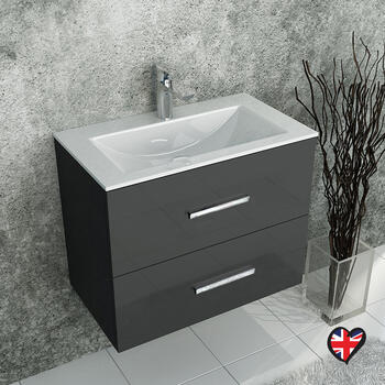 Sonix Grey Wall Hung 610 Unit 2 Drawers Ceramic Basin - 1