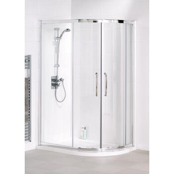 Space Saver 900x800x1750 Offset Quadrant Enclosure Silver Modern