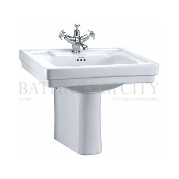 straight Victorian Basin 61cm and Semi Pedestal option of 1,2,3 tap hole