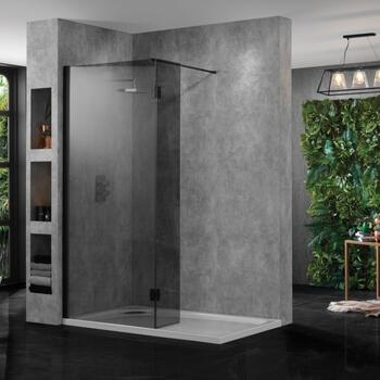Wetroom Smoked Black Glass 10mm Easy Clean - 178407