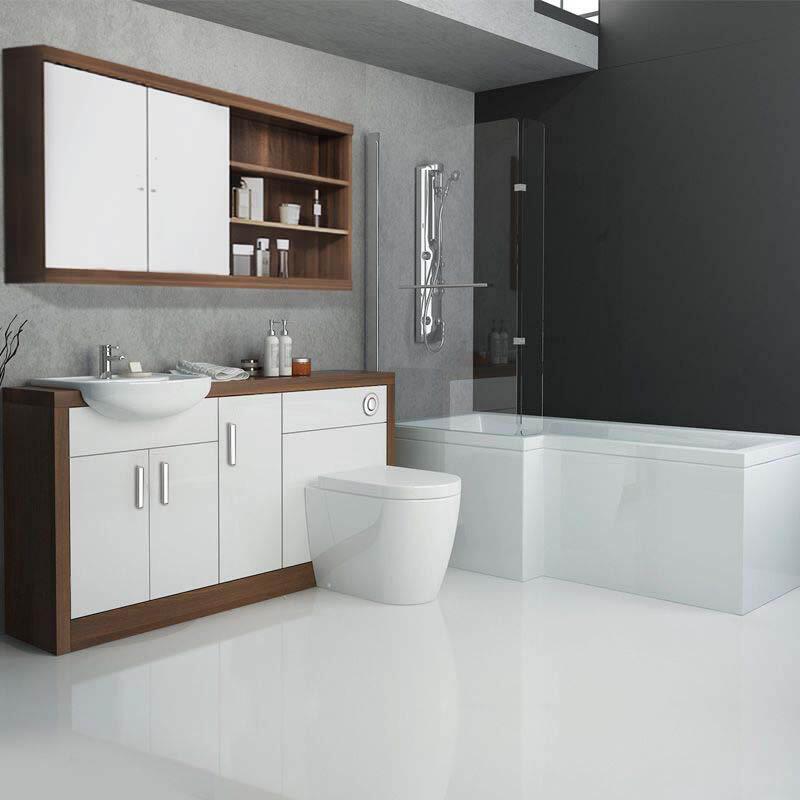 Lucido L Shape 1500 Furniture Suite White Left Hand