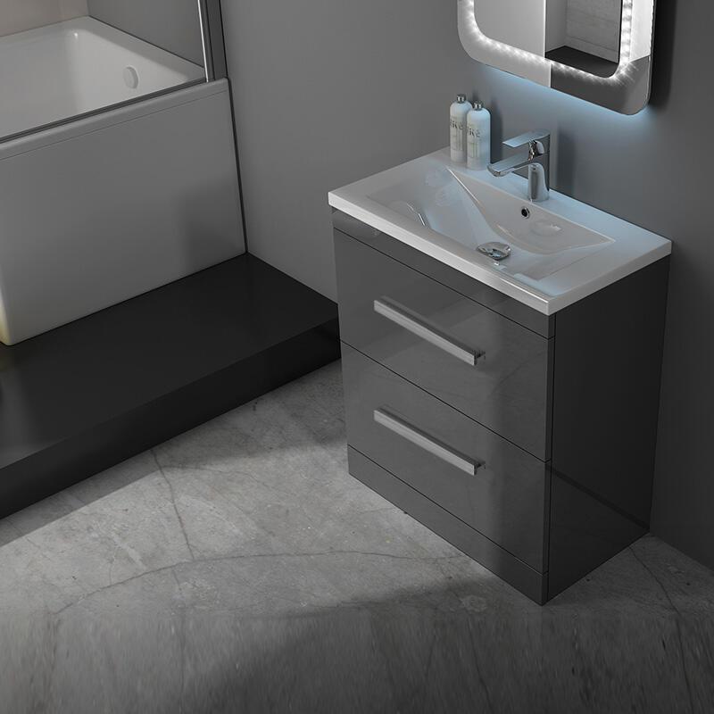 Patello 60 Grey Vanity Unit And Basin 2, Free Standing Bathroom Sink Vanity