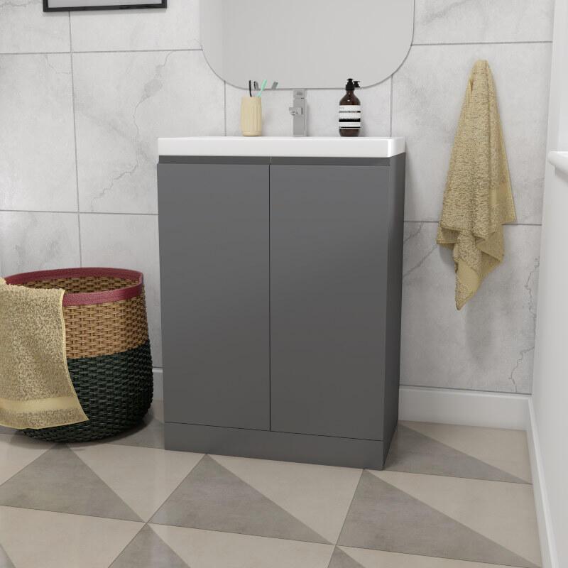 Mercury 60 Grey Vanity Unit And Basin Buy Online At Bathroom City