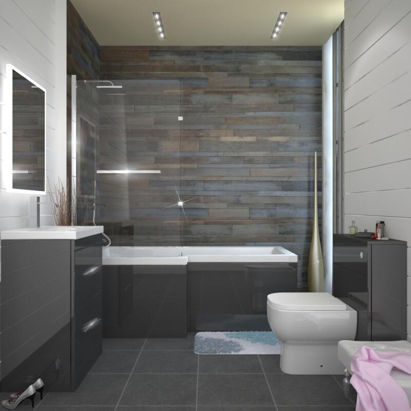 Complete Bathroom Suite L Shape LH//RH Bath Screen Panel WC Basin Shower Taps Set