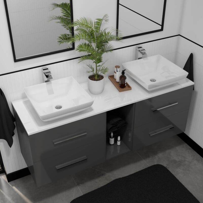 Sonix 1500 Glass Top Wall hung Vanity storage Unit inc basins and taps