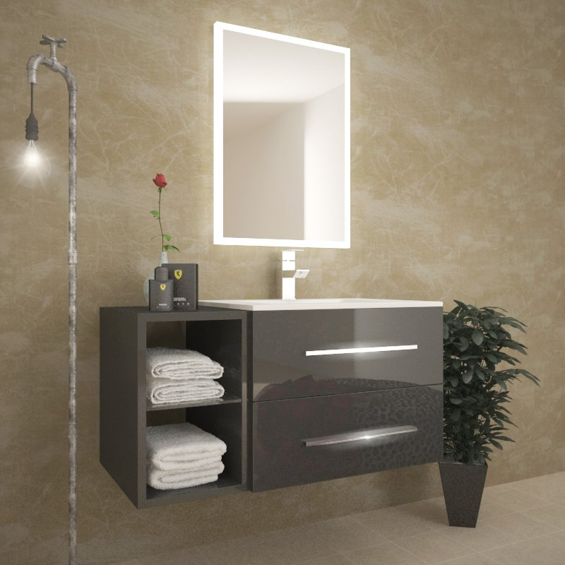 SONIX 890 Grey WALL HUNG UNIT