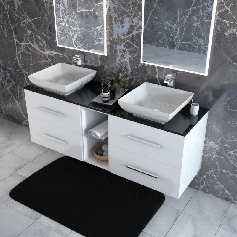 Sonix 1500 Grey Glass Top Wall hung Vanity Unit White Inc Counter Top Basins and taps