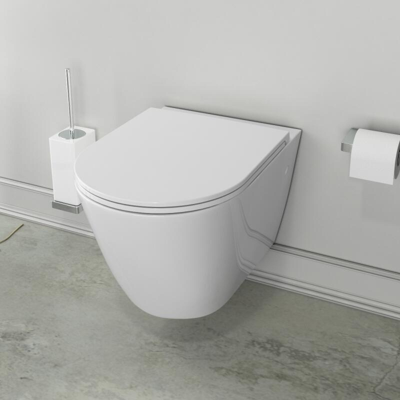 Patello Rimless Wall Hung WC with Ultra Thin Soft Close Quick Release Seat