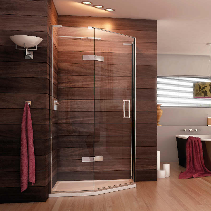 Eauzone LH Quintesse with Hinged Door 1000 x 1000mm Curved Handle