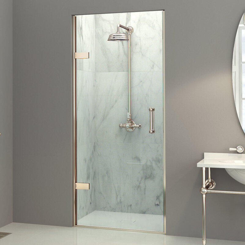 Eauzone LH Hinged Door from Wall For Recess 900mm Curved Handle
