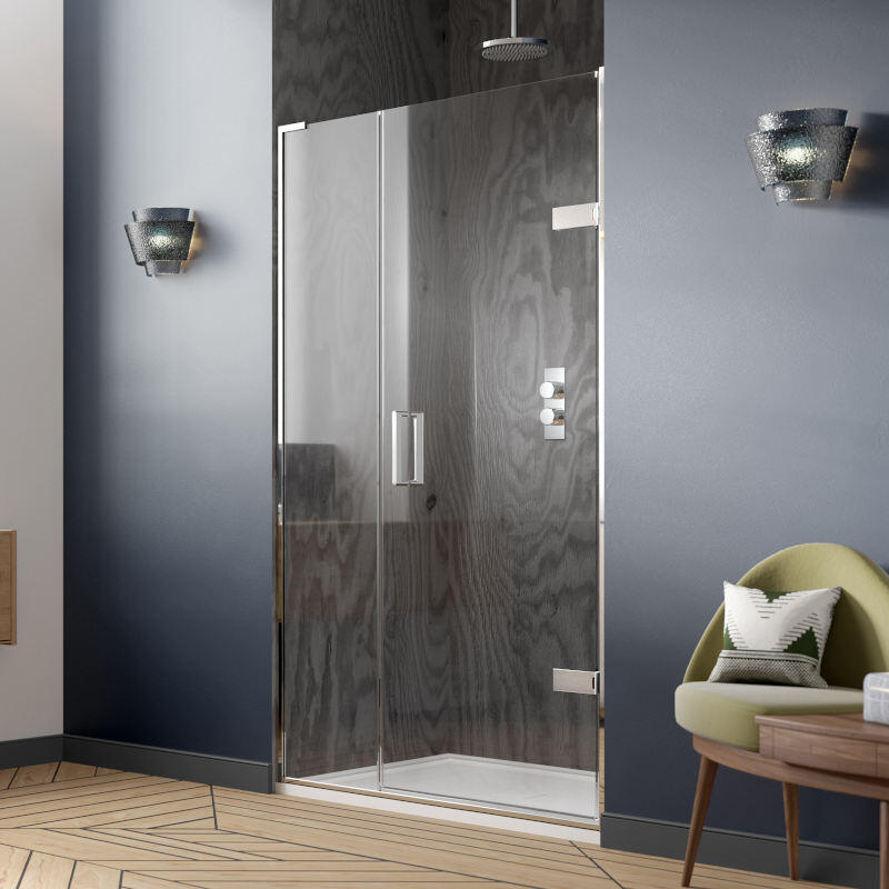 Eauzone LH Hinged Door from Wall and Inline Panel for Recess 800mm Curved Handle