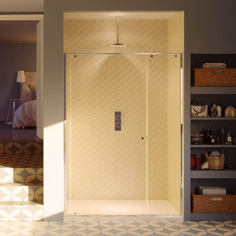Matki One, Pivot Door: 800mm with Black Vertical Frames