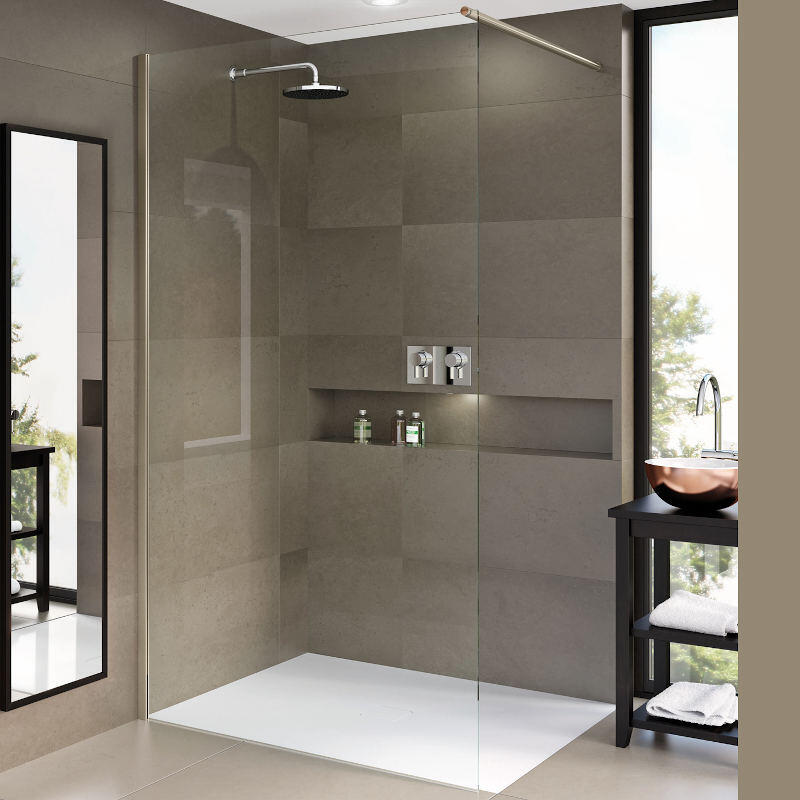 Matki One Wet Room Panel 500mm with Black Frame and Wall Brace Bar