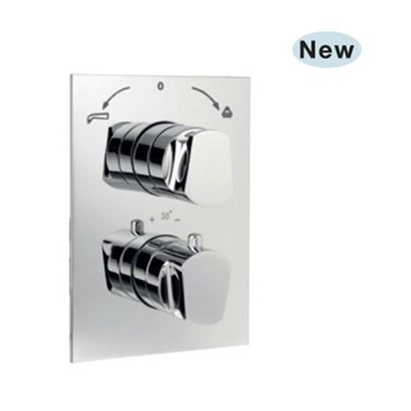 Aria Thermostatic Concealed High Flow Bath and Shower Valve 20mm with Built-in Non Return Valves, HP 1.0