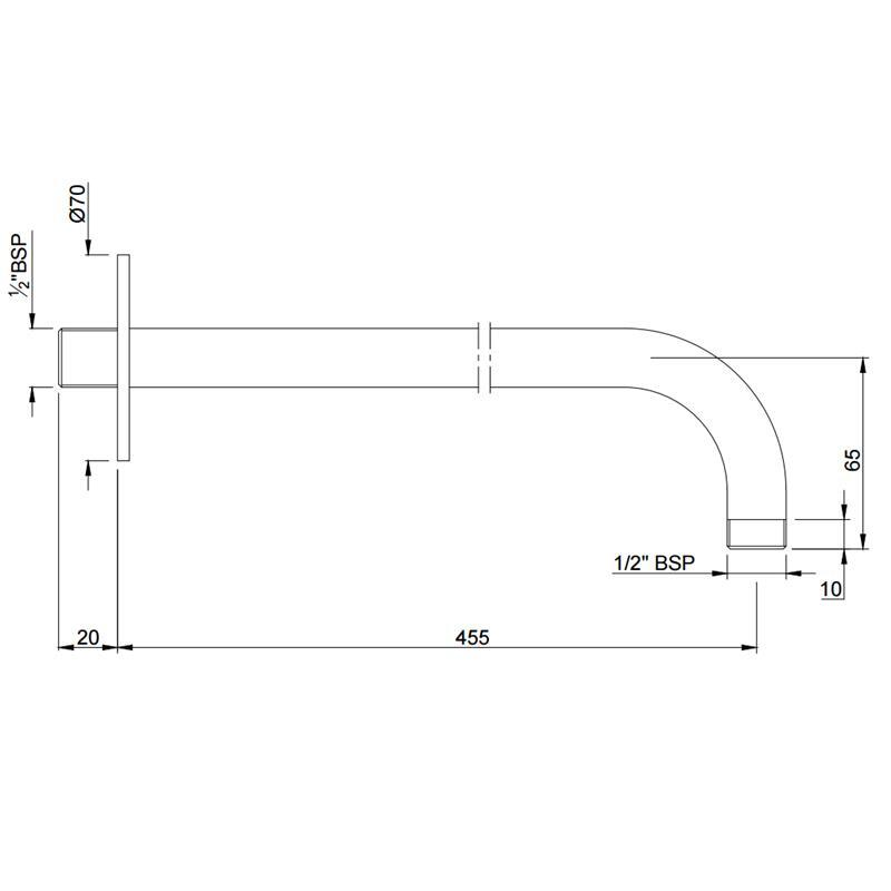 Round Shower Arm, ?20mm & 450mm Long
