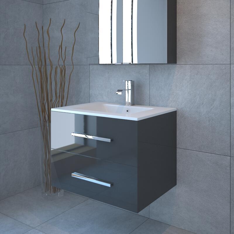 2 Draw Wall Hung Bathroom Vanity Unit Grey, Wall Hung Bathroom Vanities