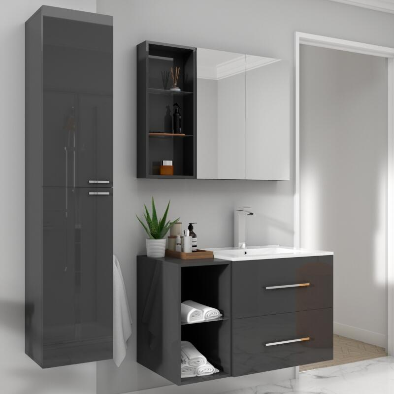 SONIX BATHROOM FURNITURE VANITY SUITE GREY