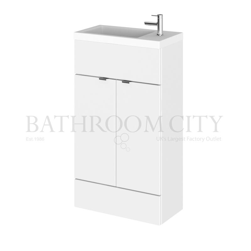 500mm Compact Vanity Unit & Basin Gloss White