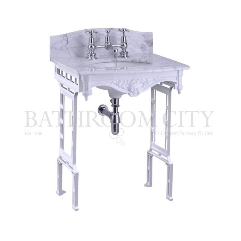 Georgian Marble basin 1TH washstand Aluminium with Splash backs