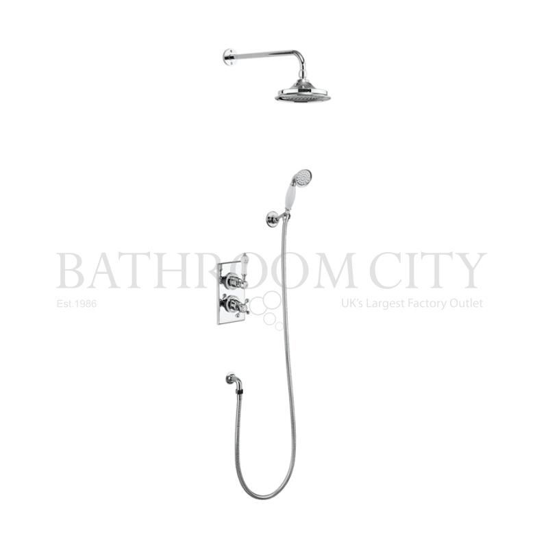 Trent Thermostatic Two Outlet Concealed Diverter Shower Valve , Fixed Shower Arm, Handset & Holder with Hose 6inch head
