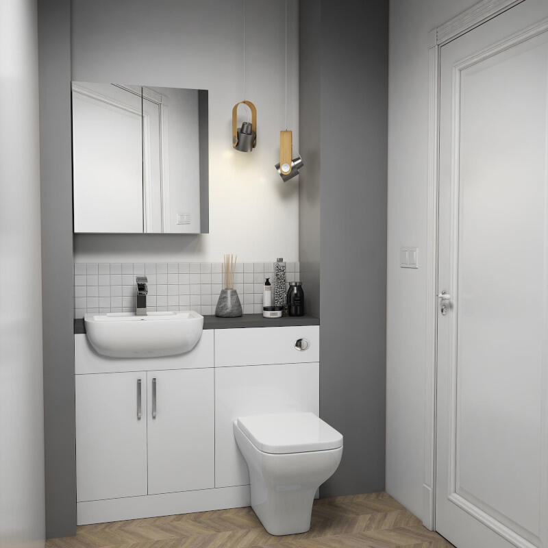 Fitted Suite w Mirror Cabinet: White