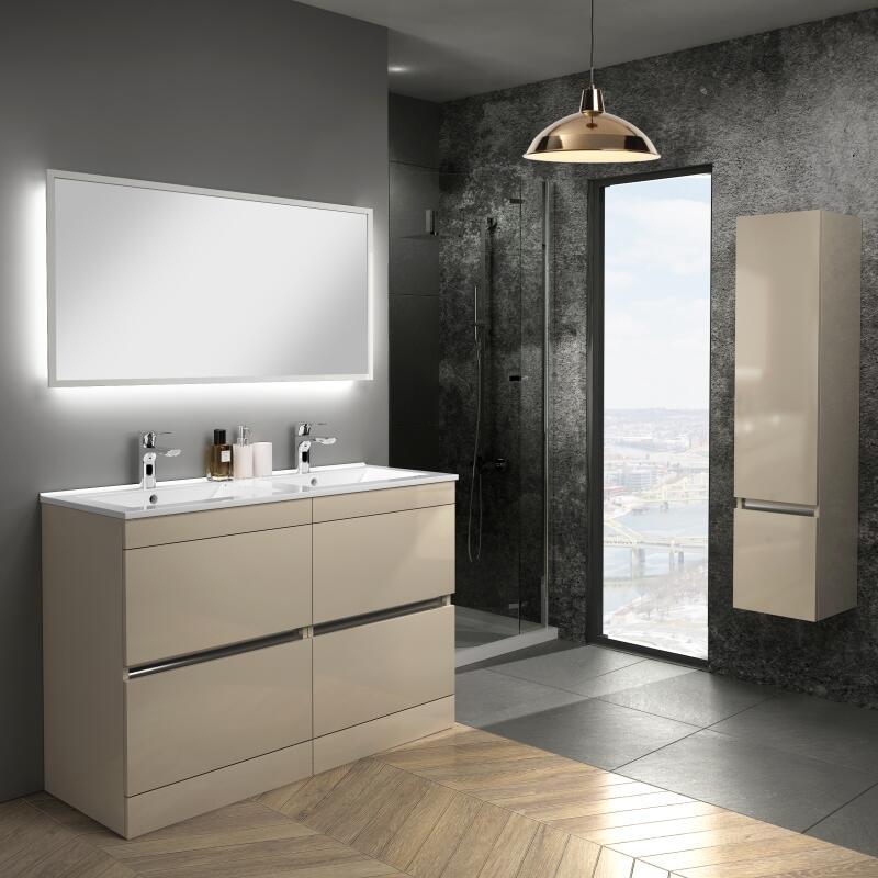 Pemberton gold floor standing handless 4 drawers double basin unit