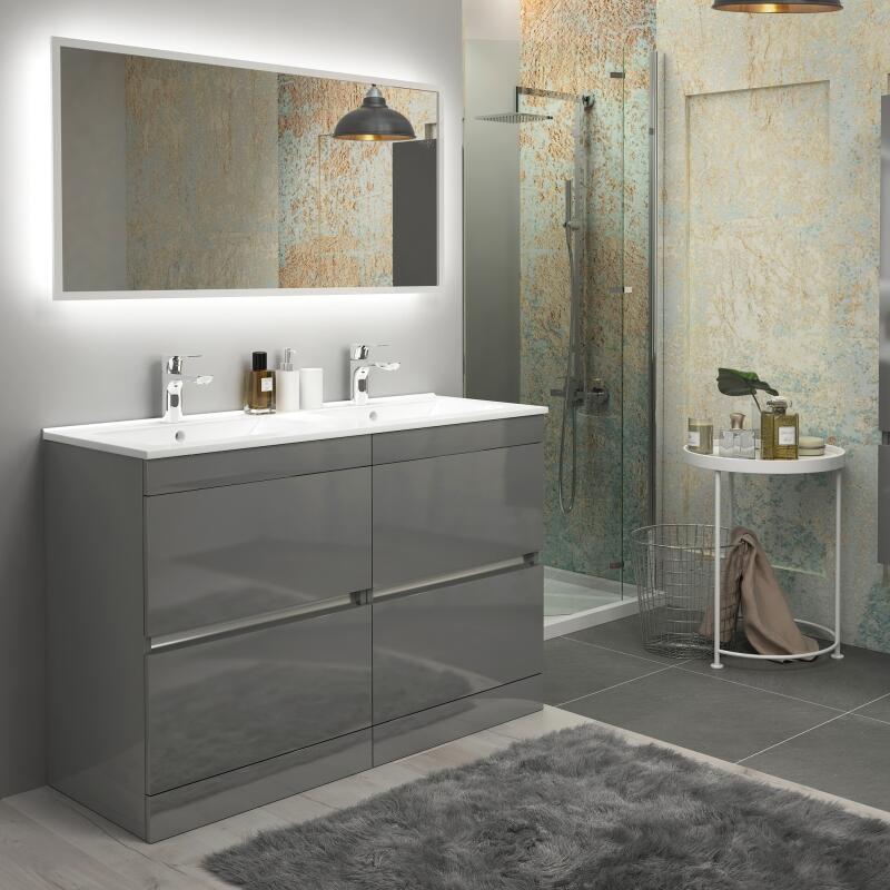 Pemberton grey floor standing handleless 4 drawers double basin unit