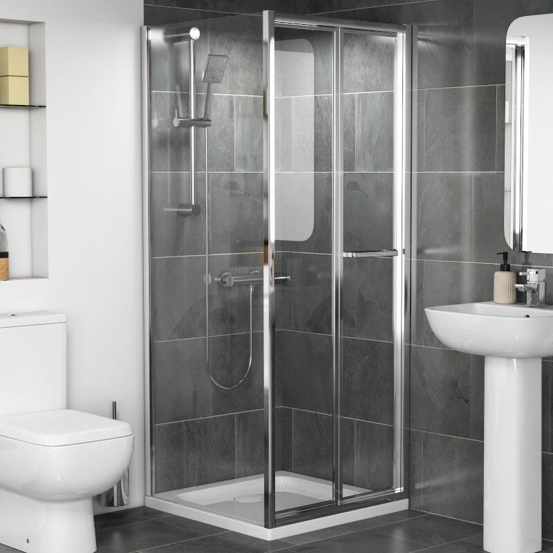 Radiant Reduced Height Shower Door: Bifold, 1750mm x 760mm