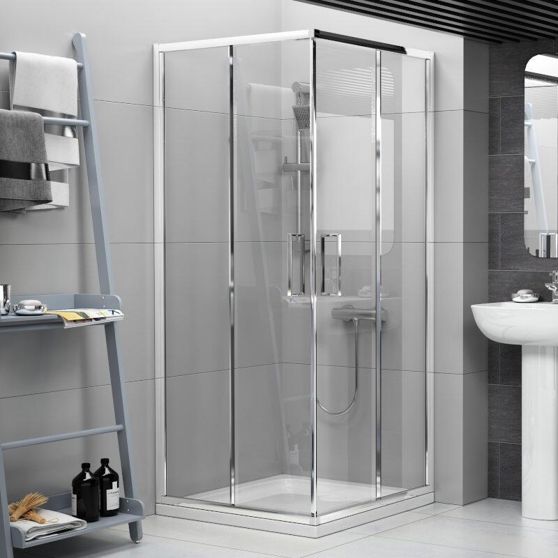 Radiant Reduced Height Shower Enclosure: Corner Entry, 1750mm x 760mm