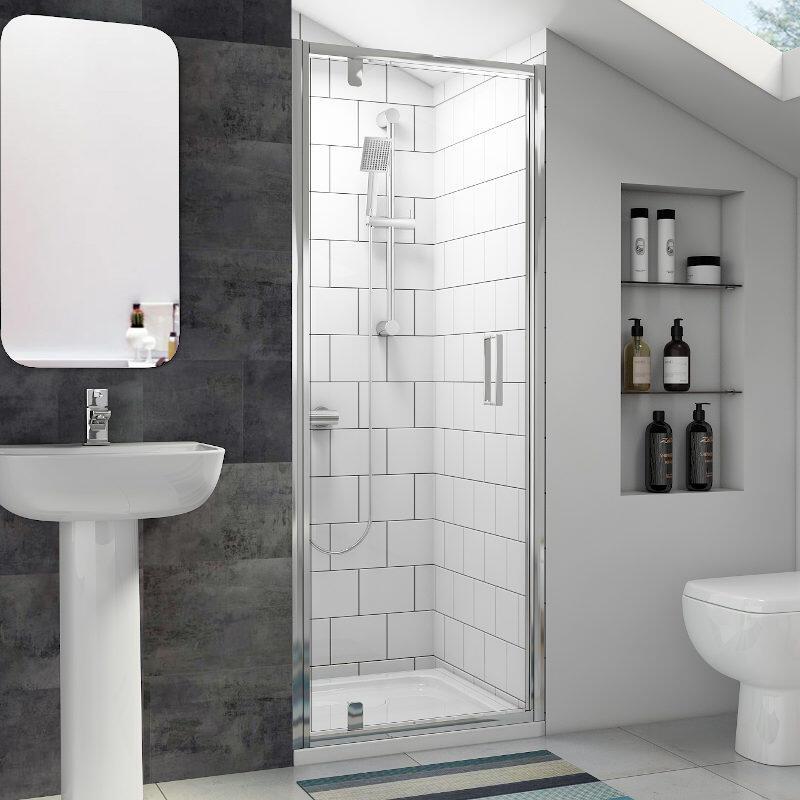 Radiant Reduced Height Shower Door: Pivot, 1750mm x 700mm