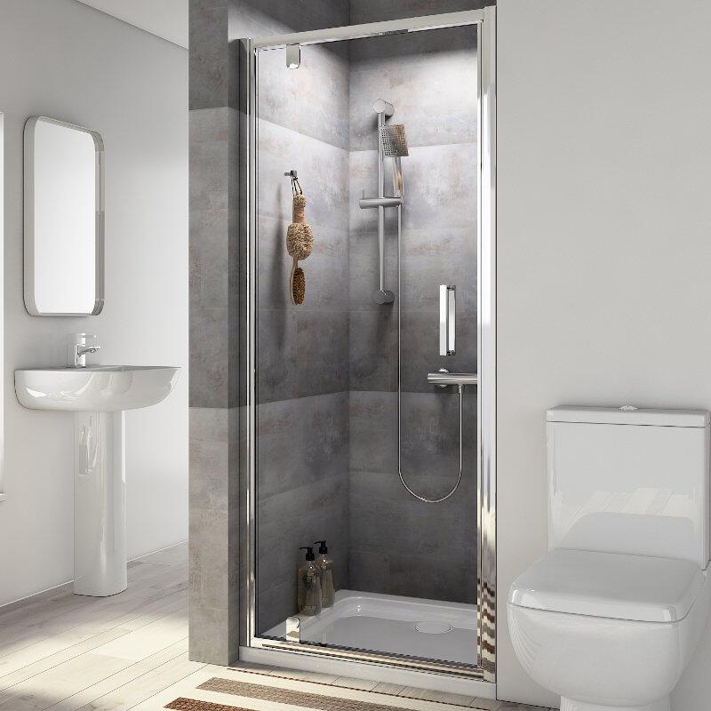 Radiant Reduced Height Shower Door: Pivot, 1750mm x 760mm