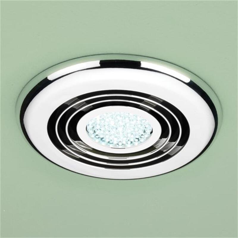 Cyclone Wet Room Inline Fan, Chrome - Cool White LED