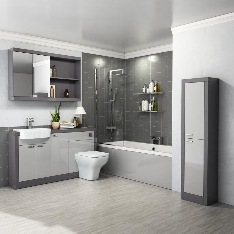 Bathroom Suite with 1700 Straight Bath & Screen