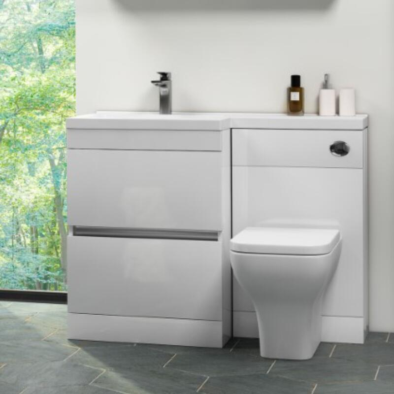 Pemberton White 1100mm L Shape 2 Drawer Basin And Toilet Combination Vanity Unit Buy Online At Bathroom City