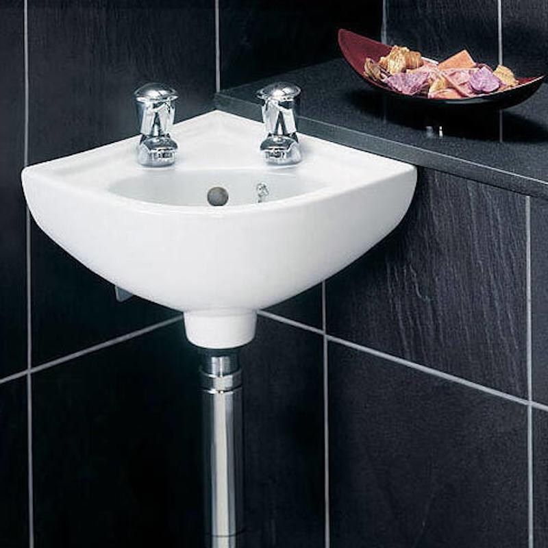 Compact 2 Taphole Corner Basin, Small Corner Sink Bathroom